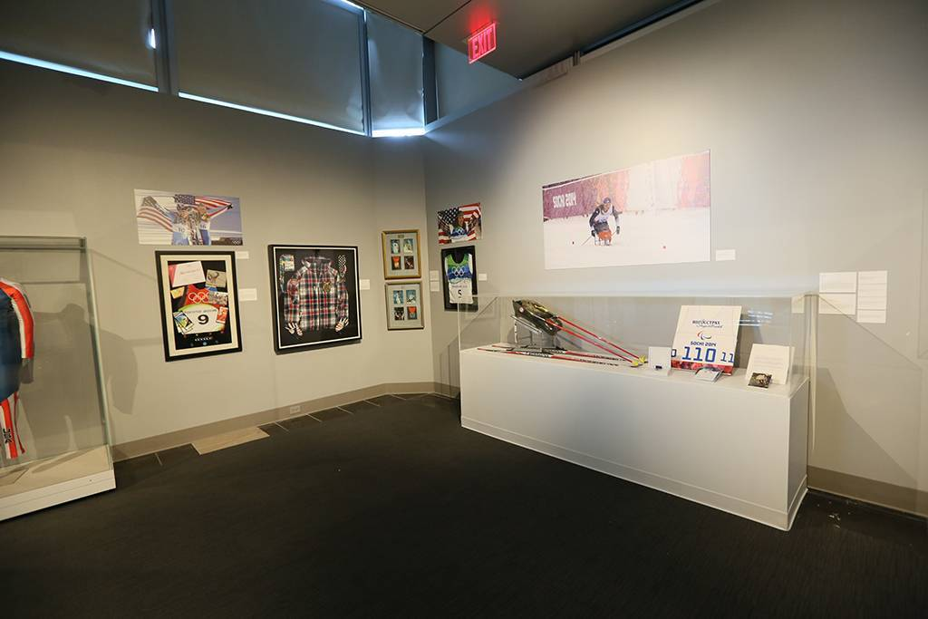 A wide view of Oksana's 2014 Paralympic Winter Games display at the Clinton Foundation Olympic Exhibit.
