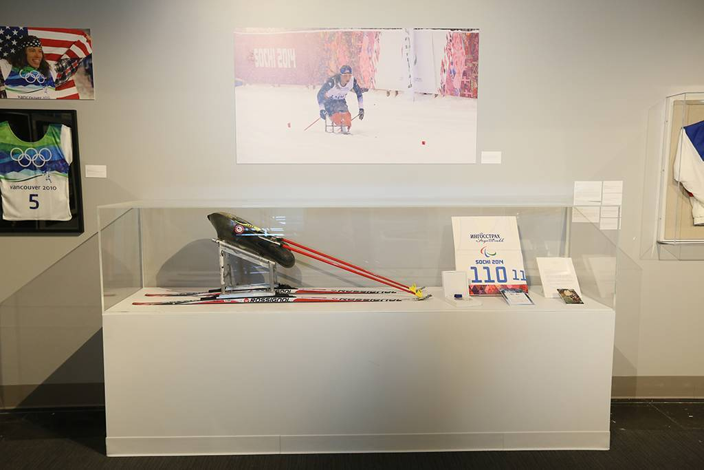 A photo of Oksana's 2014 Paralympic Winter Games display at the Clinton Foundation Olympic Exhibit.