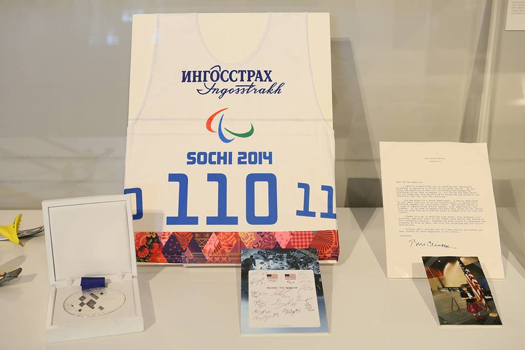 A collection of Oksana's mementos, including her Nordic Biathalon silver medal, from the 2014 Paralympic Winter Games.