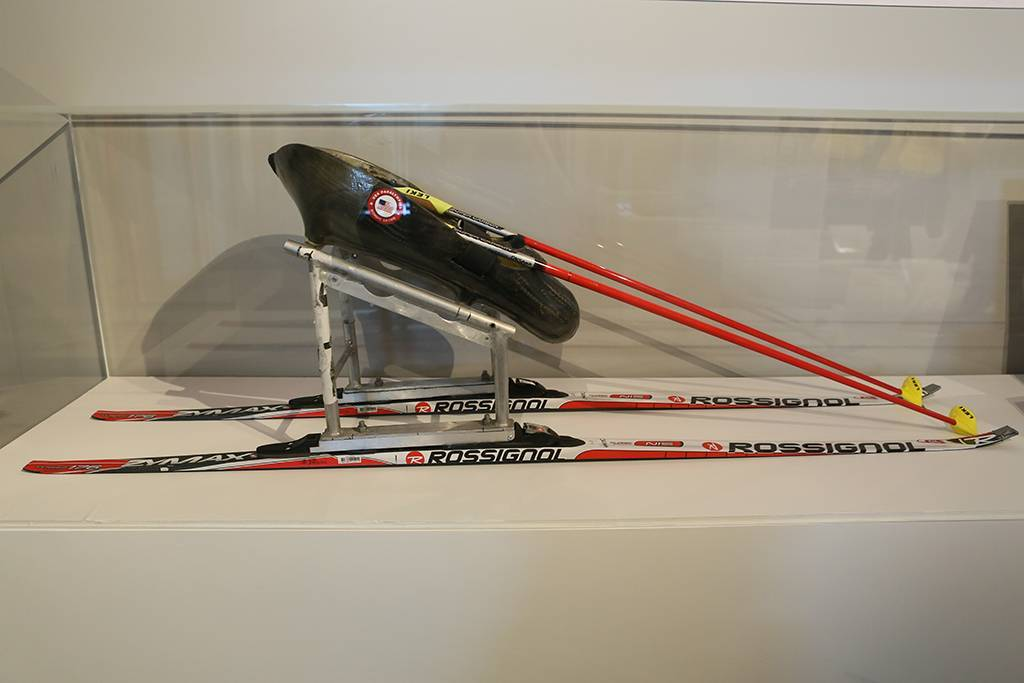 A photo Oksana's skis from the 2014 Paralympic Winter Games on exhibit at the Clinton Foundation Olympic Exhibit.