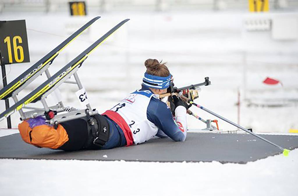Photo of Oksana on a firing range during the Nordic Biathalon at the 2014 Paralympic Winter Games.