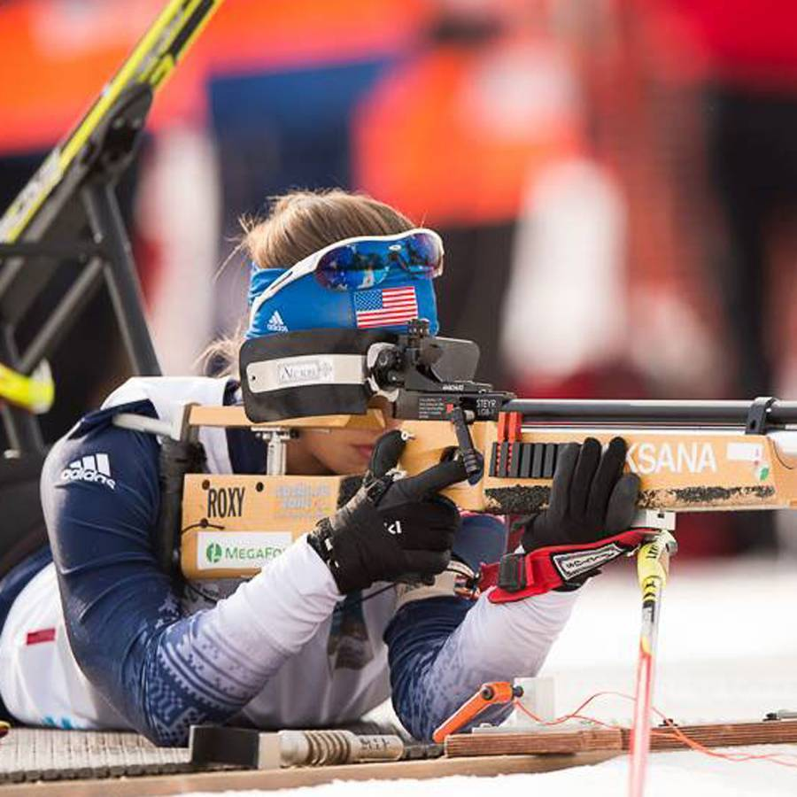 A close up photo of Oksana at the shooting range during the Nordic Biathalon at the 2014 Paralympic Winter Games.