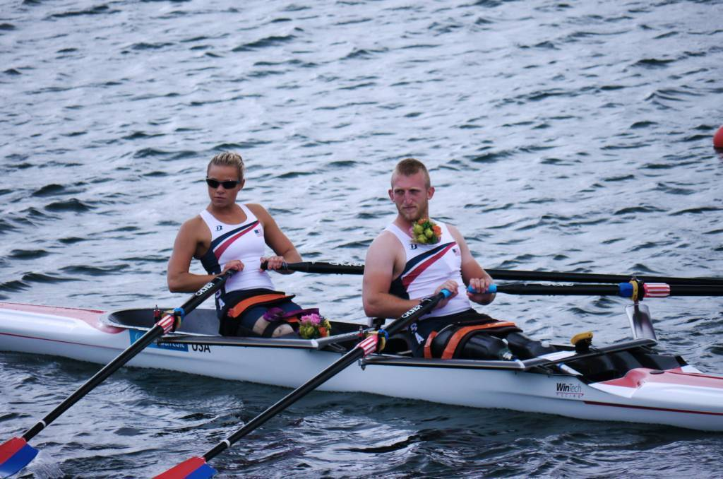 A photo of Oksana and her teammate, Rob Jones, competing in Trunk and Arms Mixed Double Sculls at the 2012 Paralympic Games.