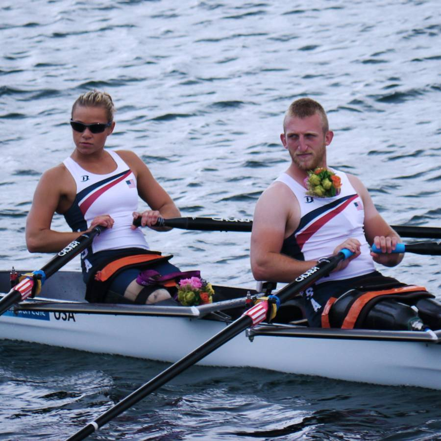 A close up photo of Oksana and her rowing partner, Rob Jones, at the London 2012 Paralympic Games.
